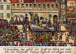 Staroměstká poprava na dobové kresbě